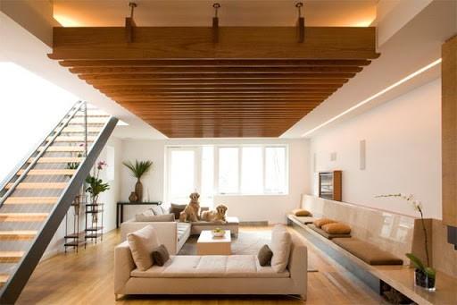 Mẫu trần nhôm giả gỗ U - shape mở rộng không gian phòng khách, cách nhiệt, chống ồn