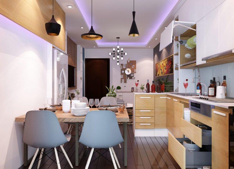 Thiết kế nội thất phòng bếp kết hợp đèn trần thạch cao