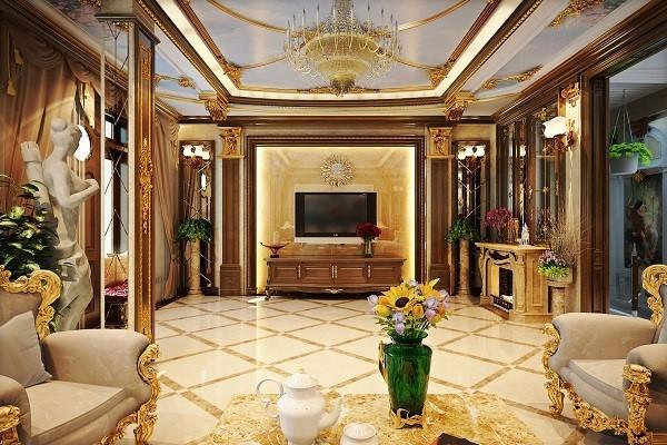 Phong cách cổ điển tạo sự cổ kính kết hợp với các vật liệu được dát vàng