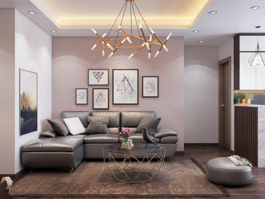 Thiết kế phòng khách với phong cách nội thất hơn giản, tối ưu không gian