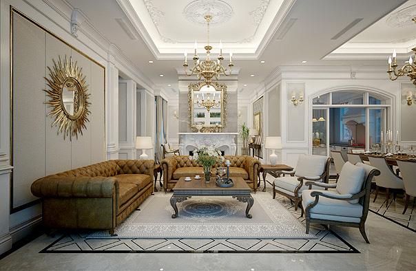 Mẫu biệt thự với nội thất thiết kế theo phong cách hiện đại