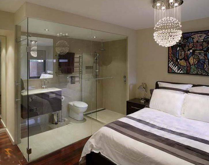 Vách ngăn nhà vệ sinh phòng ngủ tiết kiệm không gian, đảm bảo thẩm m