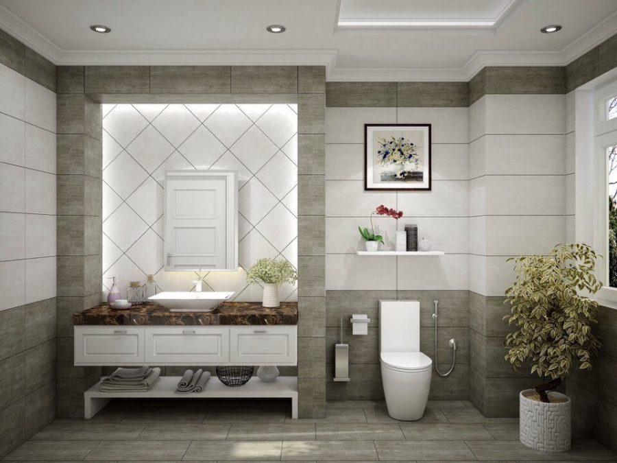 Mẫu trần thạch cao nhà vệ sinh giật cấp đẹp