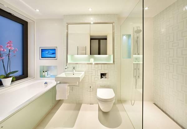 Mẫu trần thạch cao toilet kết hợp với vách ngăn nhà vệ sinh tạo không gian độc đáo