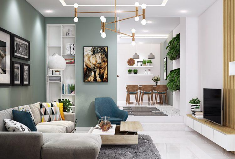 Thiết kế phòng khách liền phòng bếp cho trung cư đẹp