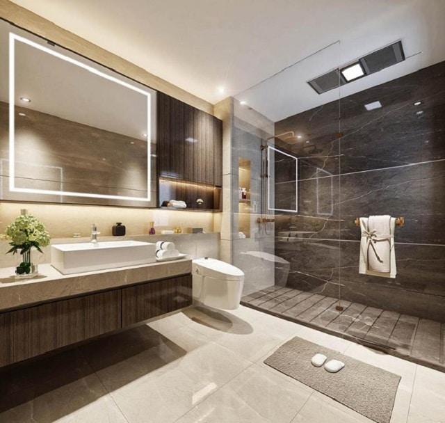 Mẫu trần thạch cao nhà vệ sinh khách sạn sang trọng, hiện đại
