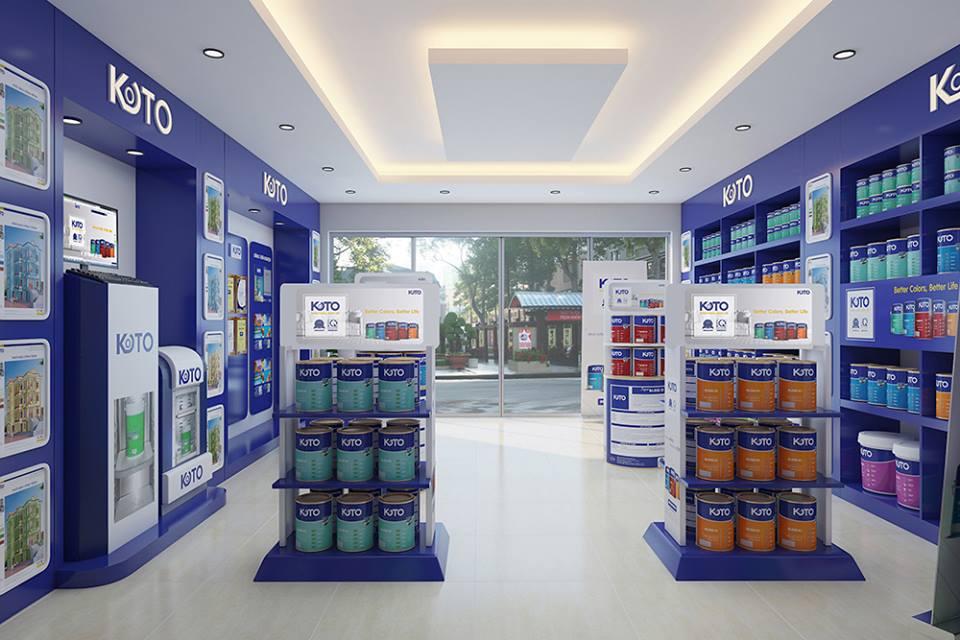 Mẫu trần thạch cao showroom bán sơn