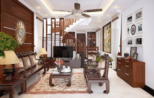 Thi công quạt trần cho trần thạch cao phòng khách giá rẻ