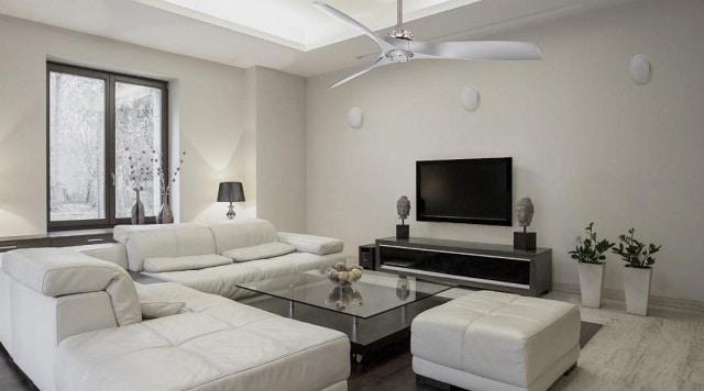 Mẫu trần thạch cao có quạt trần phòng khách