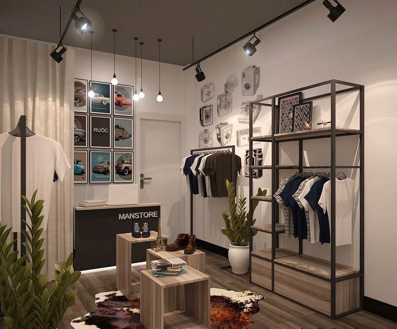 Mẫu trần thạch cao cửa hàng thời trang nam