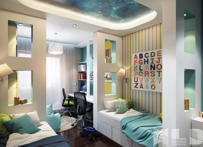 Mẫu trần thạch cao 3D phòng ngủ hiện đại
