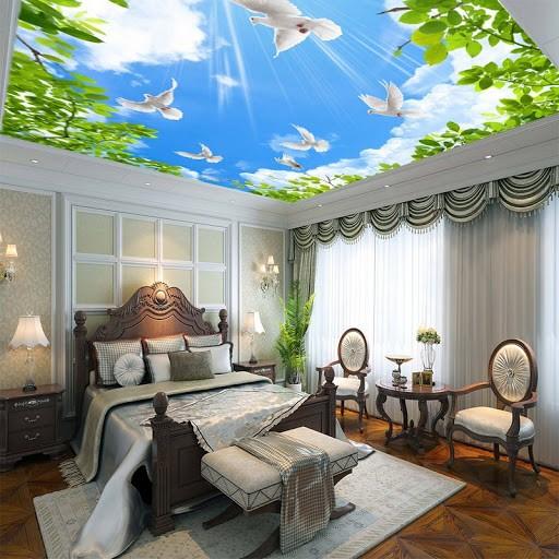 Mẫu trần 3D phòng ngủ họa tiết bầu trời
