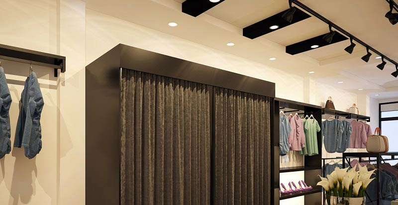 Mẫu trần thạch cao cửa hàng thời trang đẹp