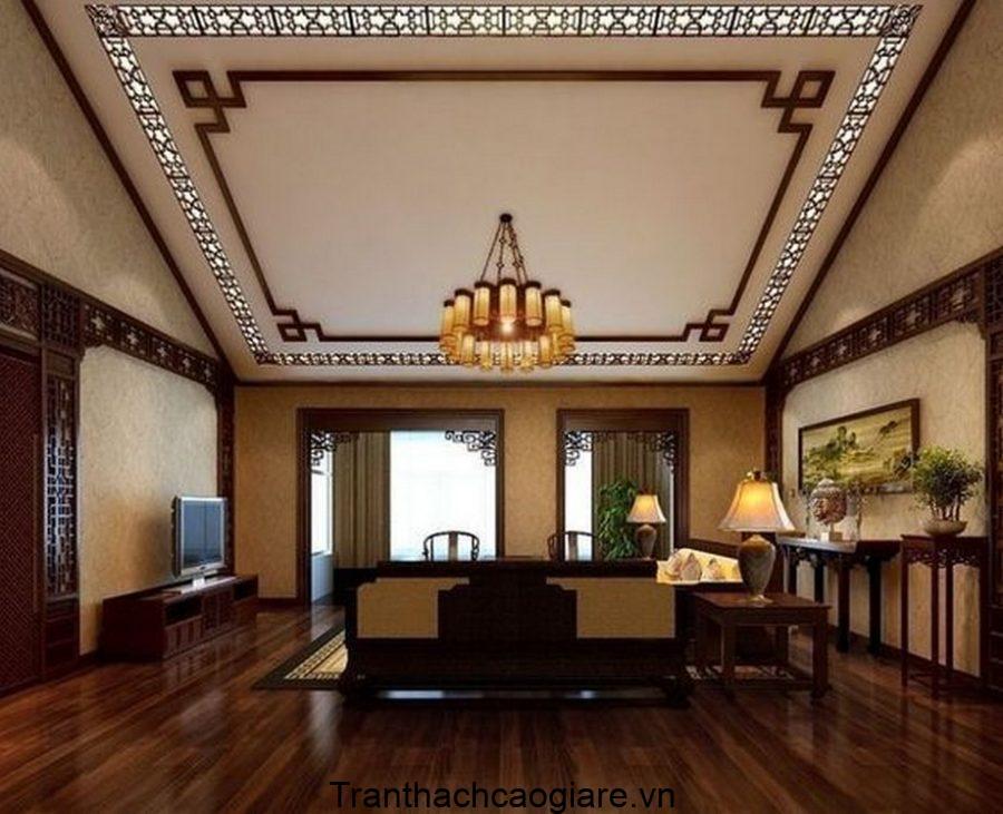 Trần thạch cao kết hợp cùng trần gỗ CNC siêu thanh lịch cho phòng khách