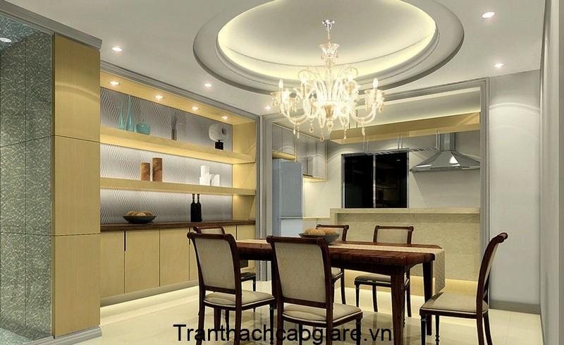 trần thạch cao hình tròn 3 cấp phòng bếp