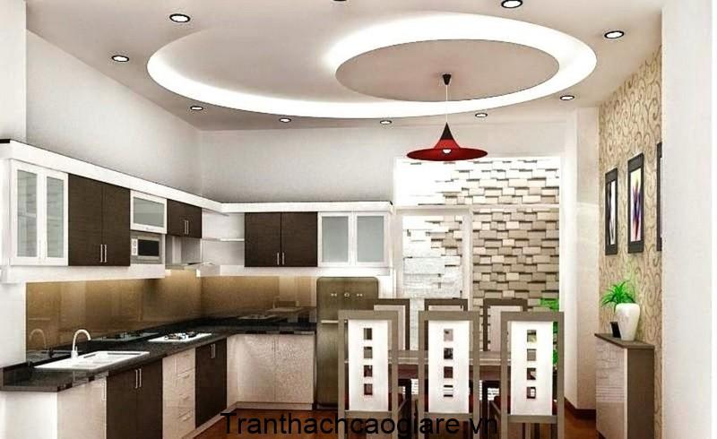 Mẫu trần thạch cao hình Elip cho phòng bếp