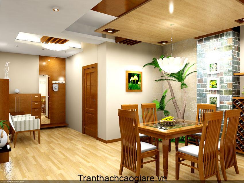 Mẫu trần gỗ kết hợp thạch cao phòng bếp đẹp