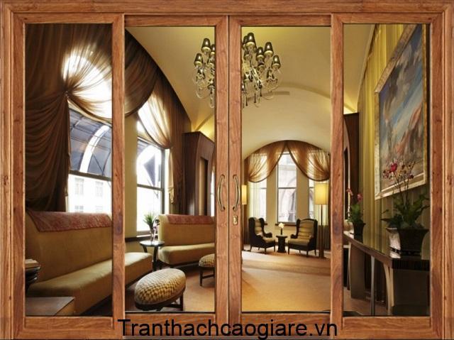 Mẫu cửa nhôm Việt Pháp vân gỗ đẹp