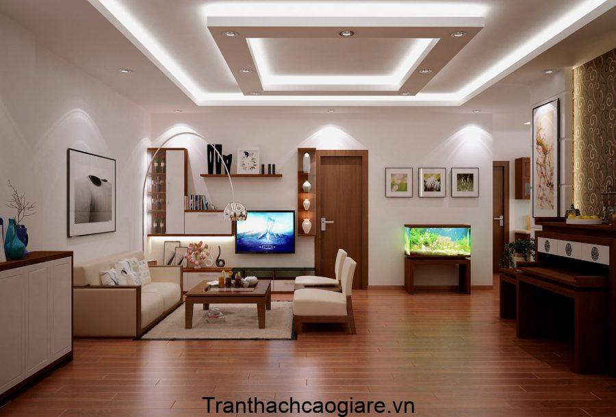 Mẫu trần thạch cao phòng khách đơn giản
