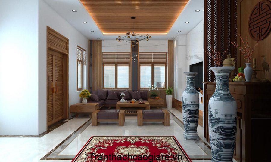 Trần thạch cao kết hợp gỗ CNC giật cấp đẹp