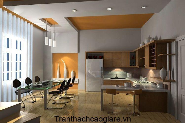 Mẫu trần thạch cao phòng bếp kết hợp gỗ đẹp