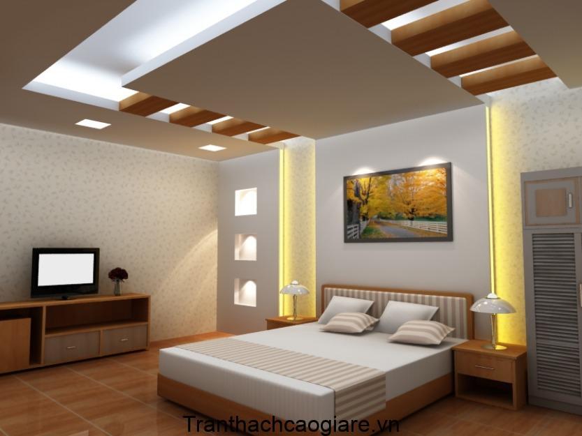 Mẫu trần thạch cao phòng ngủ đẹp kết hợp cùng gỗ