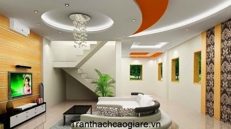 Mẫu trần thạch cao hình Elip phòng khách đẹp