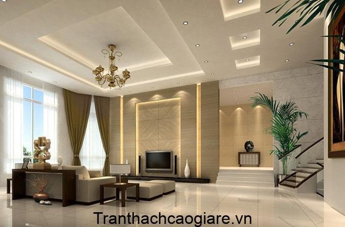 Trần thạch cao 3 cấp phòng khách