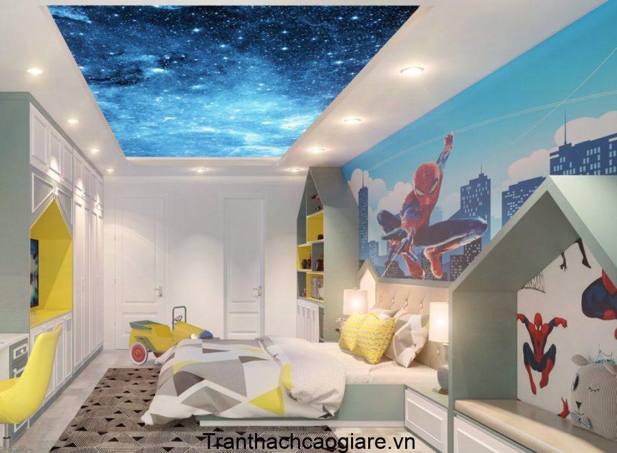 Trần thạch cao với bầu trời Galaxy lấp lành làm nổi bật căn phòng siêu anh hùng của bé