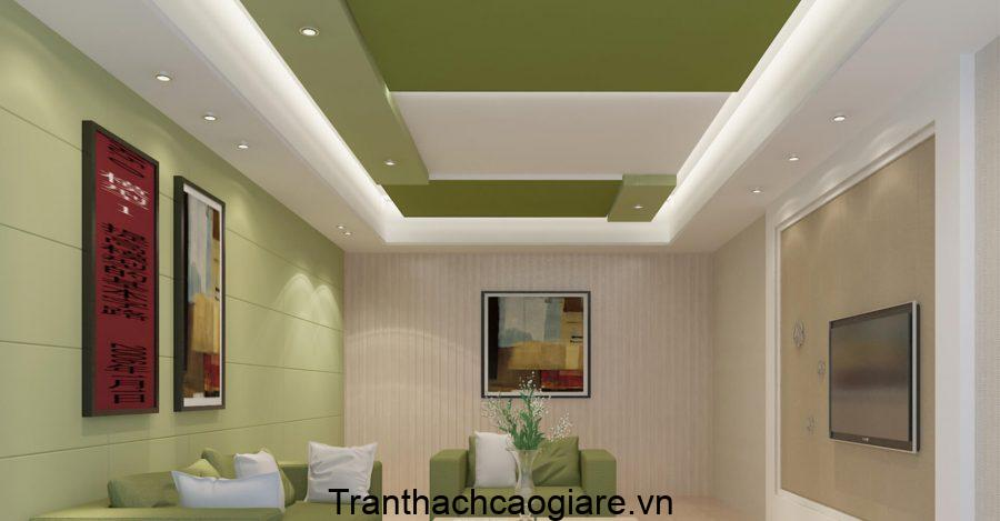 Mẫu trần thạch cao màu xanh cho phòng khách sang trọng