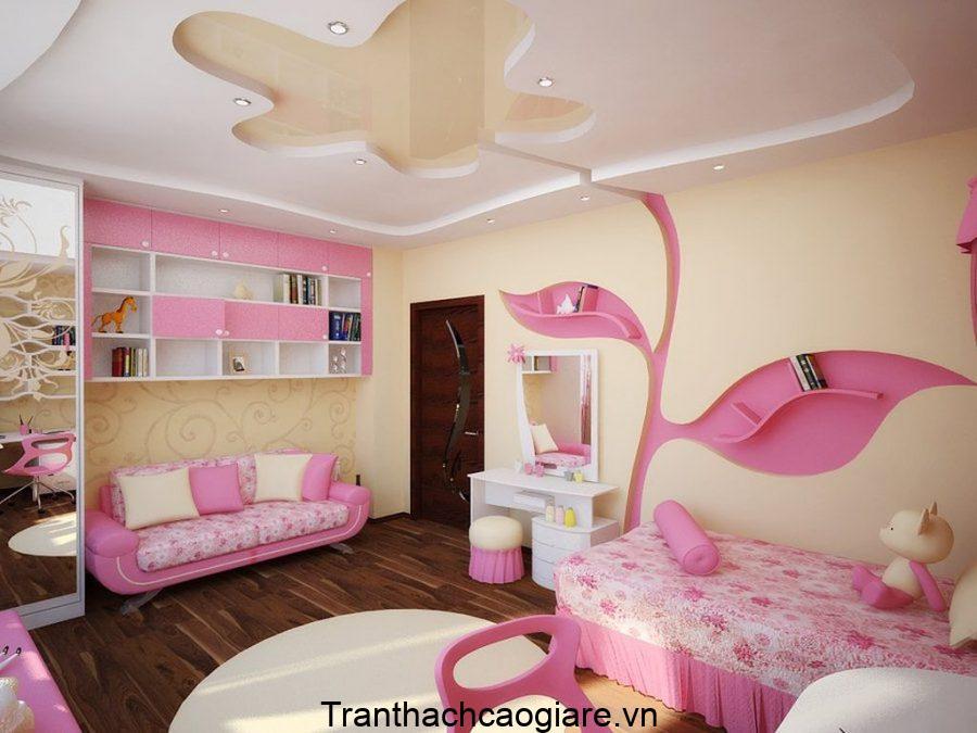 Không gian nhẹ nhàng, dịu dàng đậm màu hồng cho các bé gái