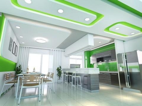 Mẫu trần thạch cao nhà bếp màu xanh hợp phong thủy