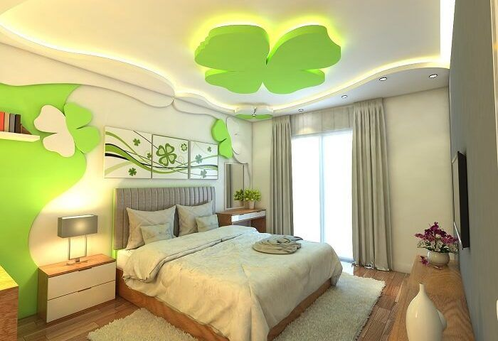 Mẫu trần thạch cao màu xanh lá cây cho phòng ngủ vợ chồng