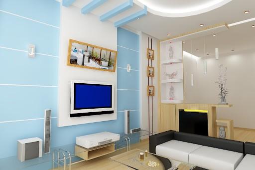 Mẫu trần thạch cao màu xanh cho chung cư
