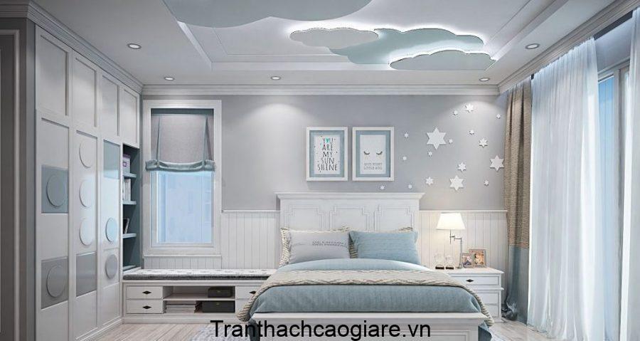 Căn phòng màu xanh chứa cả bầu trời cùng với trần thạch cao phòng ngủ trẻ em thiết kế hình dạng các đám mây