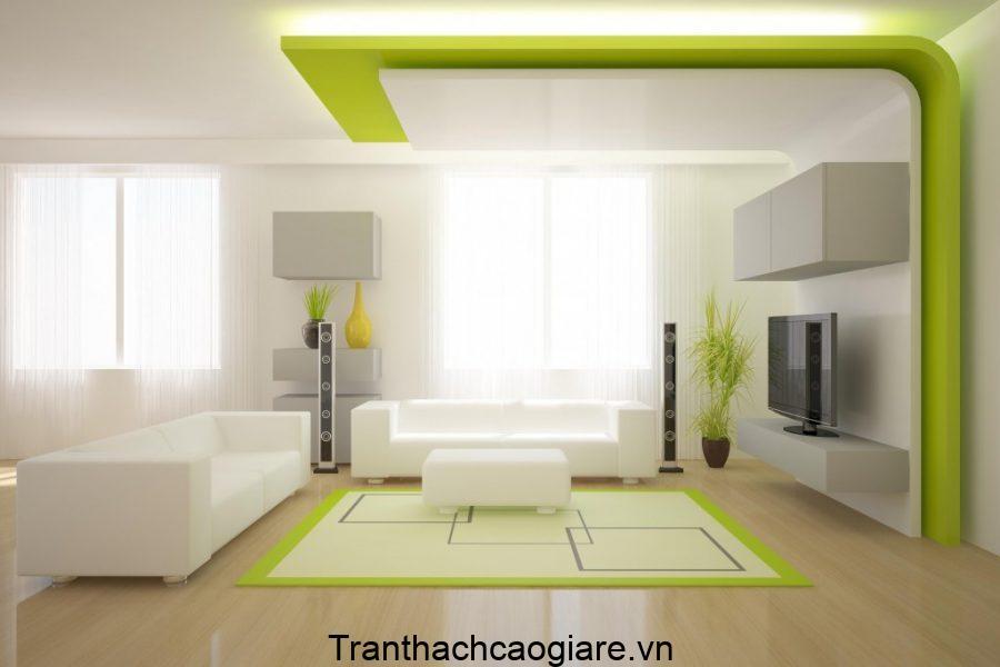 Mẫu trần thạch cao phòng khách màu xanh cuốn hút