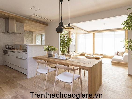Mẫu sàn gỗ nhựa trang trí phòng bếp ấm áp, sạch sẽ