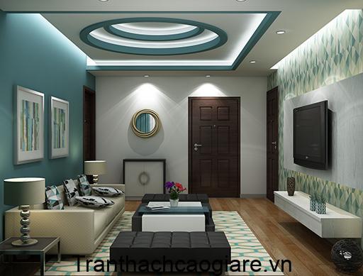 Trần thạch cao màu xanh ngọc giật 3 cấp phòng khách