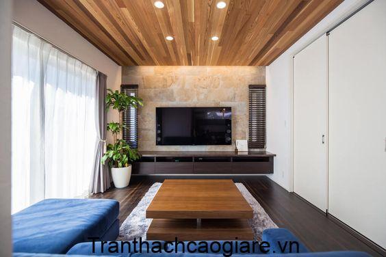 Mẫu trần gỗ nhựa và sàn gỗ nhựa cho phòng diện tích nhỏ