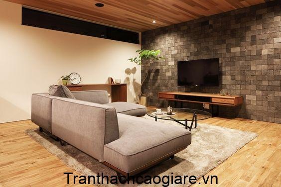 Mẫu trần gỗ nhựa kết hợp sàn gỗ nhựa trang trí phòng khách