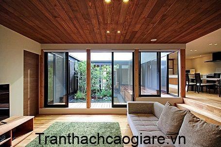 Mẫu trần nhà gõ nhựa trang trí phòng khách