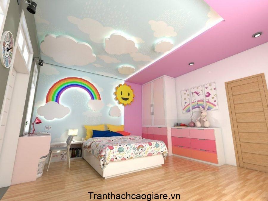 Trần thạch cao hình dạng các đám mây đã mang cả bầu trời đến căn phòng bé yêu