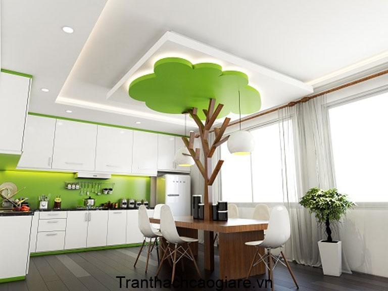 Trần thạch cao xanh lá cây đẹp