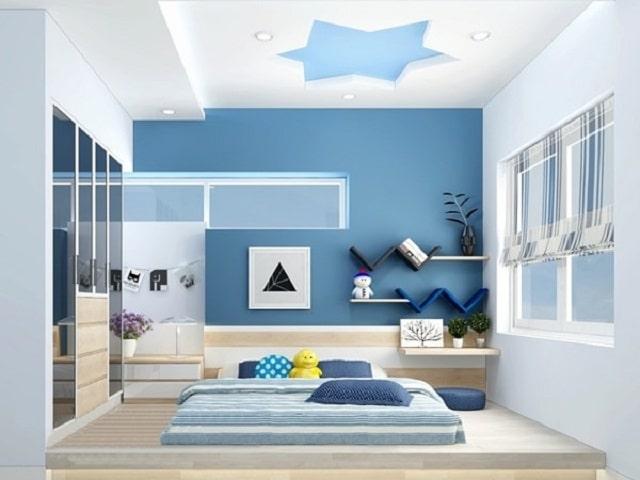 Mẫu trần thạch cao màu xanh cho phòng ngủ đẹp