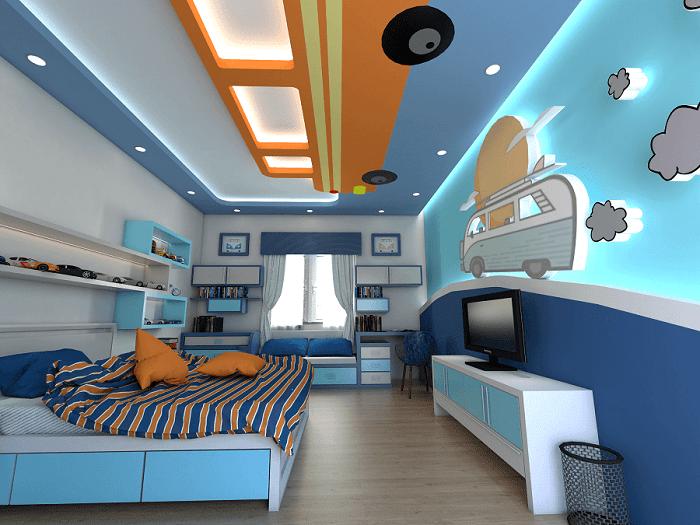 Mẫu trần thạch cao phòng ngủ cho bé màu xanh tuyệt