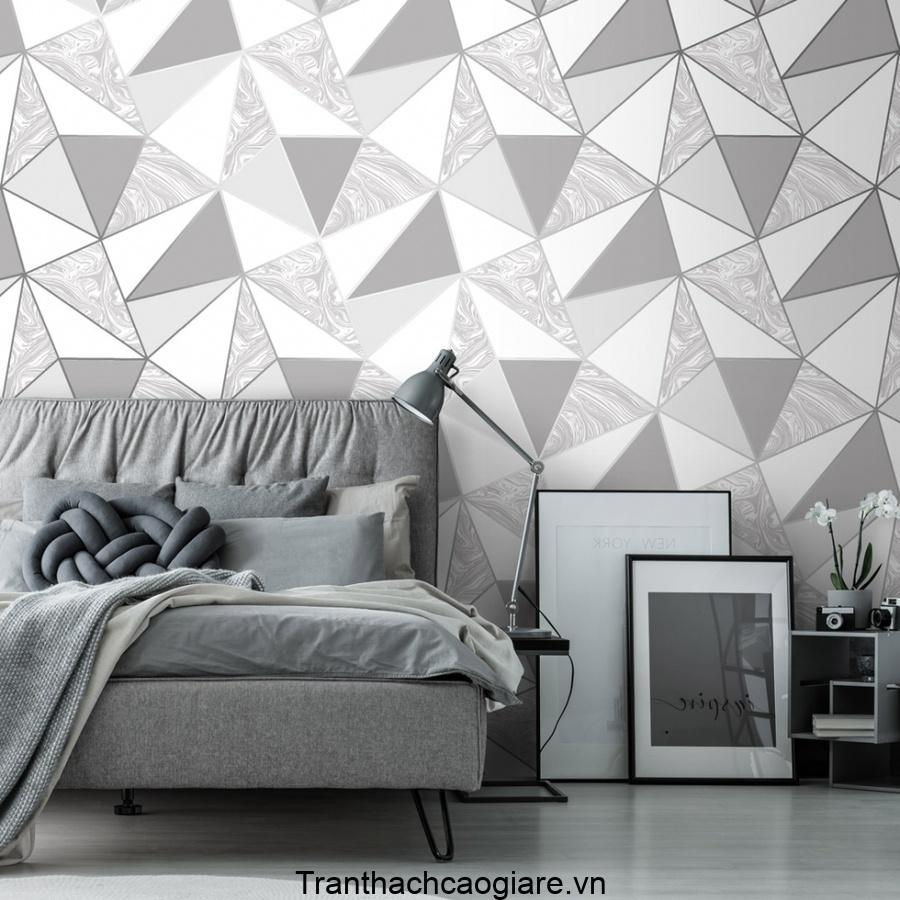Giấy dán tường hình khối khiến không gian căn phòng hiện đại