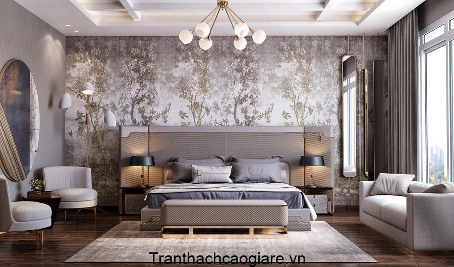 Phòng ngủ trở nên sang trọng qua trang trí giấy dán tường 3D hoa văn