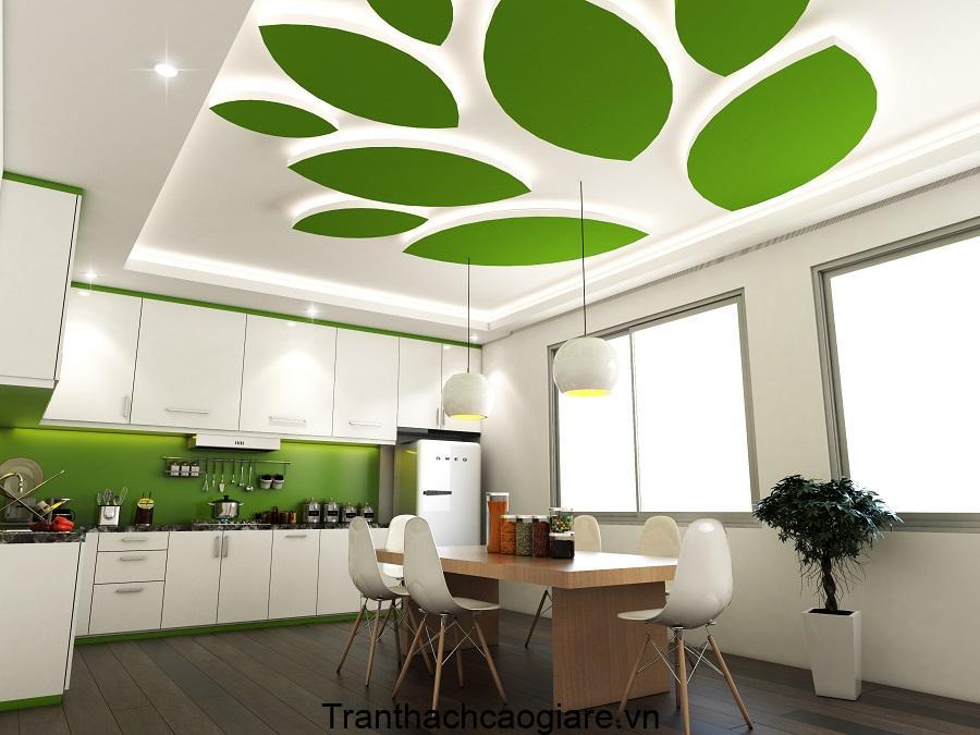 Trần thạch cao xanh lá cho phòng bếp đẹp