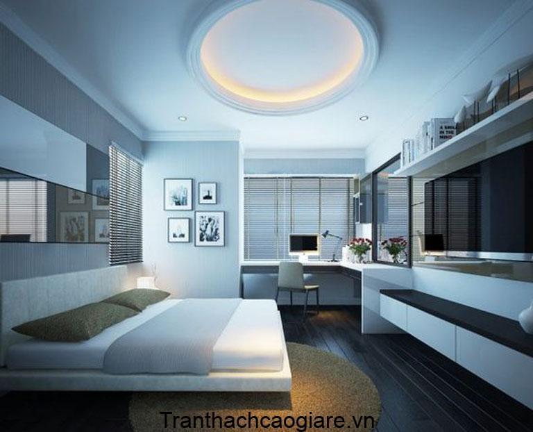 Mẫu trần thạch cao màu xanh ngọc cho phòng ngủ